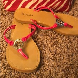 Pink and silver guess flip flops!